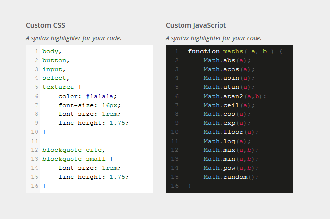 WordPress Syntax Highlighter Control For Customizer